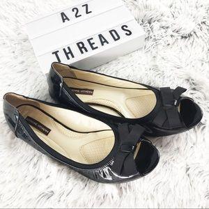 Adrienne Vittadini Leather Peep Toe Kaleb Flats